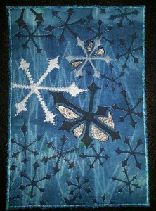 This untitled piece is 10'' x 7'' and will travel as part of the Studio Art Quilt Associates next trunk show.  It is hand-dyed, screen printed, and embellished with painted fusible web.