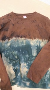 Love the way this long sleeved T came out of the final dyebath....  It's one of a kind and $45