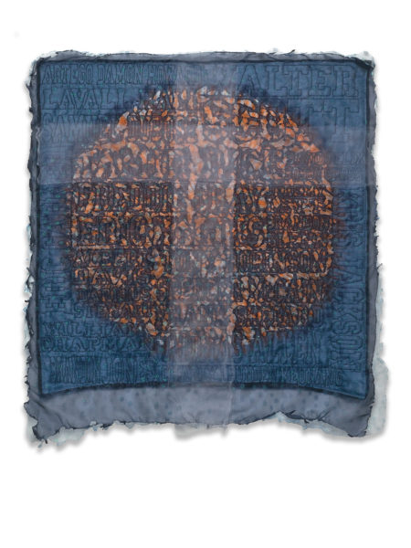 The Beautiful Son, hand-dyed, hand-worked liturgical linen (maker unknown), layered and quilted with the names of African American boys and men killed at the hands of police, and burned.